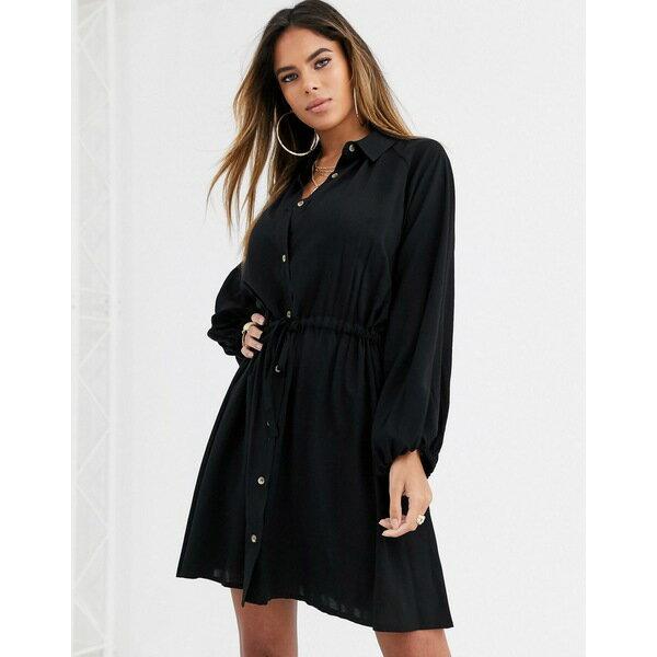 スーツ・セットアップ, ワンピーススーツ  ASOS DESIGN mini shirt dress with drawstring waist Black