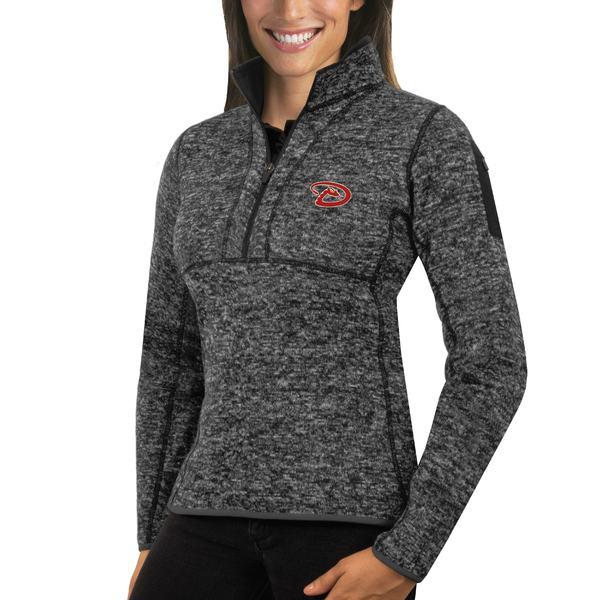 レディースファッション, コート・ジャケット  Arizona Diamondbacks Antigua Womens Fortune HalfZip Pullover Sweater Heathered Black
