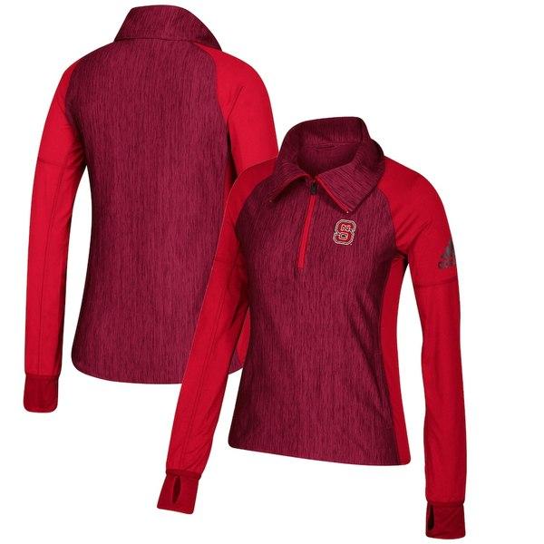 レディースファッション, コート・ジャケット  NC State Wolfpack adidas Womens Corner Logo climalite Raglan Quarter-Zip Pullover Jacket Heathered Red