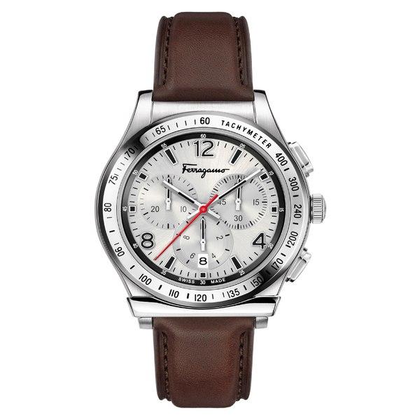 サルヴァトーレ フェラガモ メンズ 腕時計 アクセサリー Salvatore Ferragamo 1898 Chronograph Leather Strap Watch, 42mm Brown/ Silver