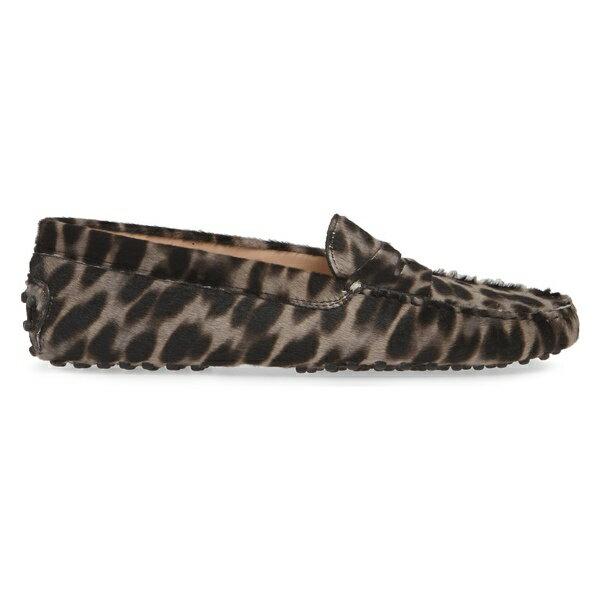 トッズ レディース サンダル シューズ Tod's Gommini Leopard Print Genuine Calf Hair Driving Moccasin (Women) Leopard Grey