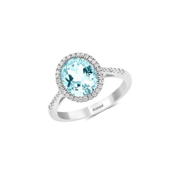 エフィー レディース リング アクセサリー 14K White Gold, Aquamarine & Diamond Ring White Gold