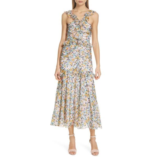 アミュール レディース ワンピース トップス AMUR Elyse Floral Print Silk Midi Dress Aqua