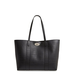 Mulberry Ladies Tote Bag Bag Bayswater Matte Croc Embossed Leather Tote & Pouch Black