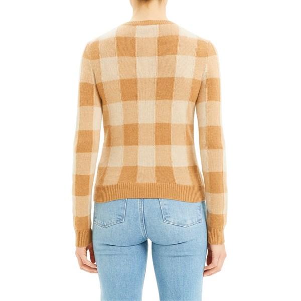 セオリー レディース ニット&セーター アウター Theory Plaid Crewneck Cashmere Sweater Pale Camel Multi