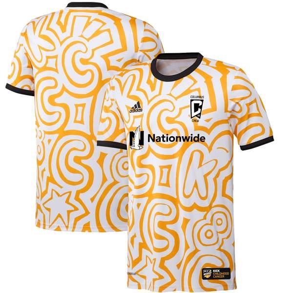 トップス, ベスト・ジレ  Columbus Crew adidas 2021 MLS Works Kick Childhood Cancer PreMatch Jersey WhiteGold