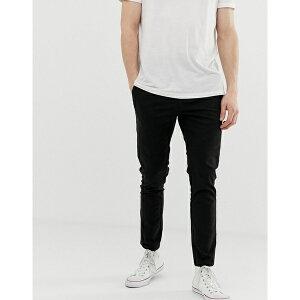 エイソス メンズ カジュアルパンツ ボトムス ASOS DESIGN skinny ankle grazer chinos in black Black