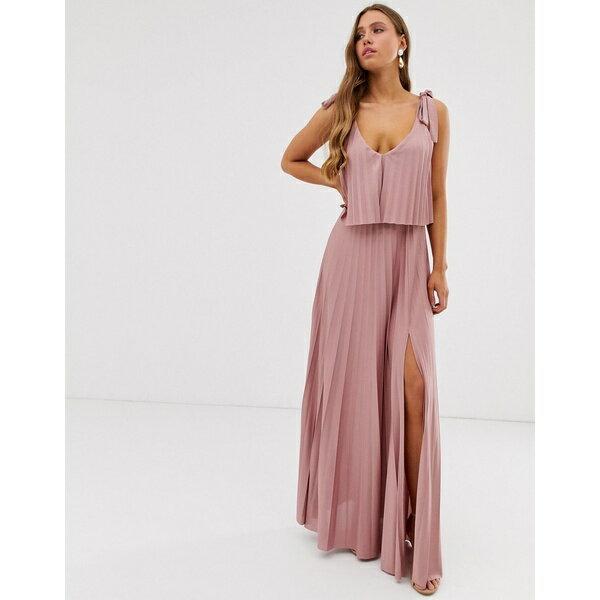 スーツ・セットアップ, ワンピーススーツ  ASOS DESIGN tie shoulder pleated crop top maxi dress Rose