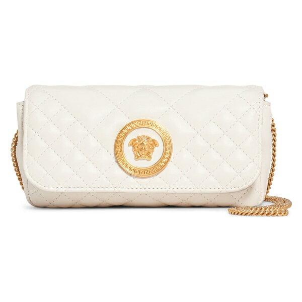 ヴェルサーチ レディース ハンドバッグ バッグ Versace First Line Tribute Small Quilted Leather Pouch Off White/ Oro Tribute