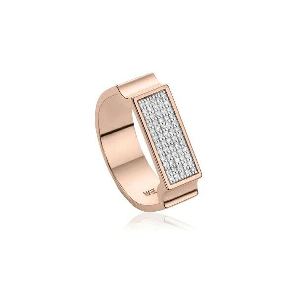 モニカヴィナダー レディース リング アクセサリー Monica Vinader Diamond Signature Wide Ring Rose Gold/ Diamond