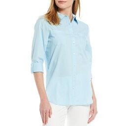 トミー ヒルフィガー レディース カットソー トップス Easy Care Cotton Poplin Button Front Tunic Porcelain Blue