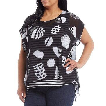 マルチプルズ レディース シャツ トップス Plus Size Shape Dot Print Dolman Sleeve Stripe Knit Tank Hi-Low Georgette Blouse Multi