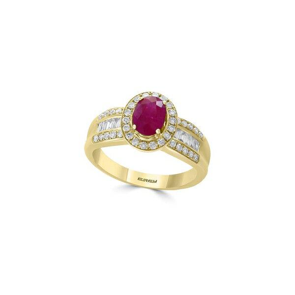 エフィー レディース リング アクセサリー Amoré Diamond, Natural Ruby and 14K Yellow Gold Ring Red