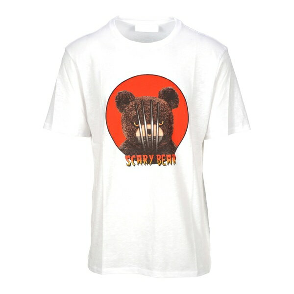 ニールバレット メンズ カットソー トップス Neil Barrett Scarry Bear Print T-shirt WHITE