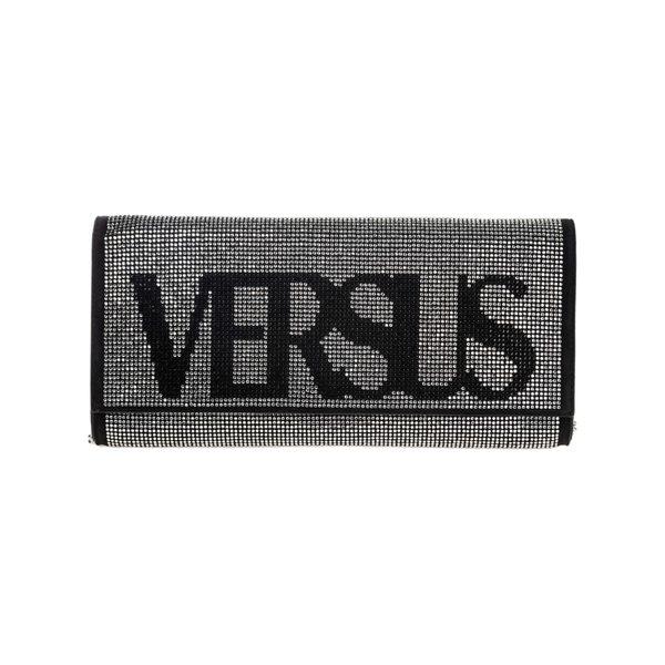 ヴェルサス ヴェルサーチ レディース ショルダーバッグ バッグ Versus Versace Leather Clutch With Shoulder Strap Handbag Bag Purse Vintage Logo Nero