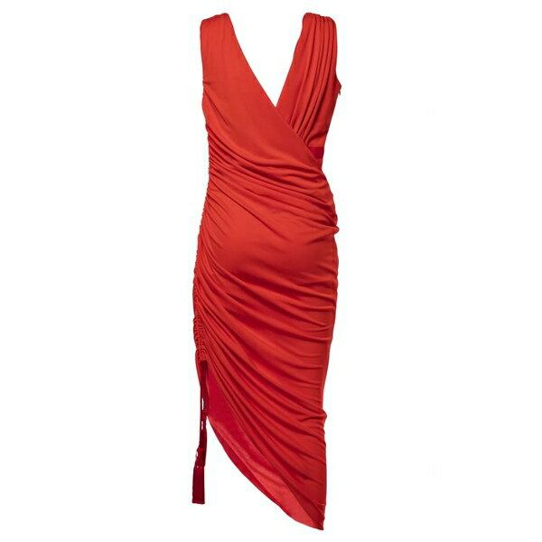ランバン レディース ワンピース トップス Lanvin Ruched Midi Dress Red