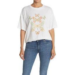 アボンド レディース Tシャツ トップス Graphic Crew Neck Oversized T-Shirt White Butterflies