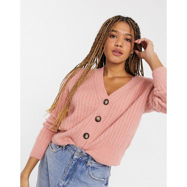 トップス, カーディガン・ボレロ  Brave Soul sadie button cardigan in pink Pink