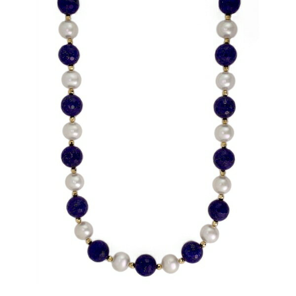 エフィー レディース ネックレス・チョーカー・ペンダントトップ アクセサリー 14K Yellow Gold Pearl and Lapis Necklace Lapis Pearl
