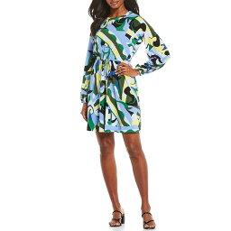 ドナモーガン レディース ワンピース トップス Abstract Print Matte Jersey Blouson Dress Black/Periwinkle Multi