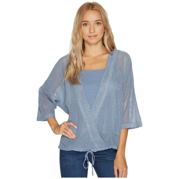 ヘザー レディース シャツ トップス Cyndi Square Mesh Wrap Top French Blue:asty