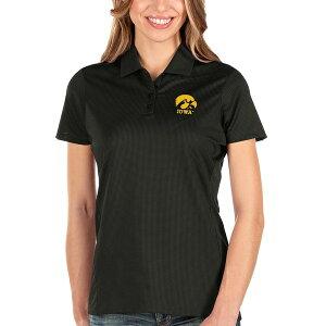 アンティグア レディース ポロシャツ トップス Iowa Hawkeyes Antigua Women's Balance Polo Black