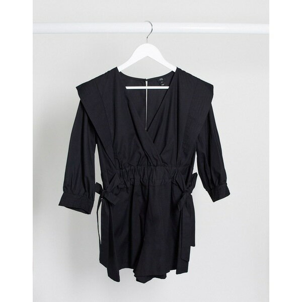 スーツ・セットアップ, ワンピーススーツ  River Island cotton poplin romper in black Black