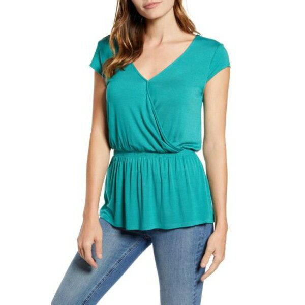 トップス, Tシャツ・カットソー  T x Hot Summer Nights Almost Ready Smocked Jersey Peplum Top GREEN