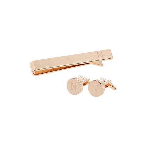 キャシーズ コンセプツ メンズ カフスボタン アクセサリー Cathy's Concepts Monogram Cuff Links & Tie Bar Set Rose Gold - N