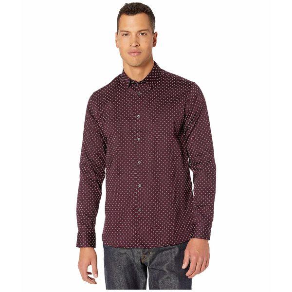 トップス, カジュアルシャツ  Maison Long Sleeve Small Diamond Print Shirt Deep Purple