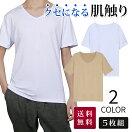 【高コスパ5枚組】 インナーシャツ メンズ 肌着 半袖 vネック クセになる肌触り EASY-MODE-T