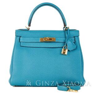 [अच्छी हालत] हेमीज़ हेमीज़ हैंडबैग कंधे बैग केली 28 इनर स्टिच टारिलॉन फ़िरोज़ा ब्लू गोल्ड धातु फिटिंग Metal आर उत्कीर्ण प्रयुक्त लोकप्रिय रंग