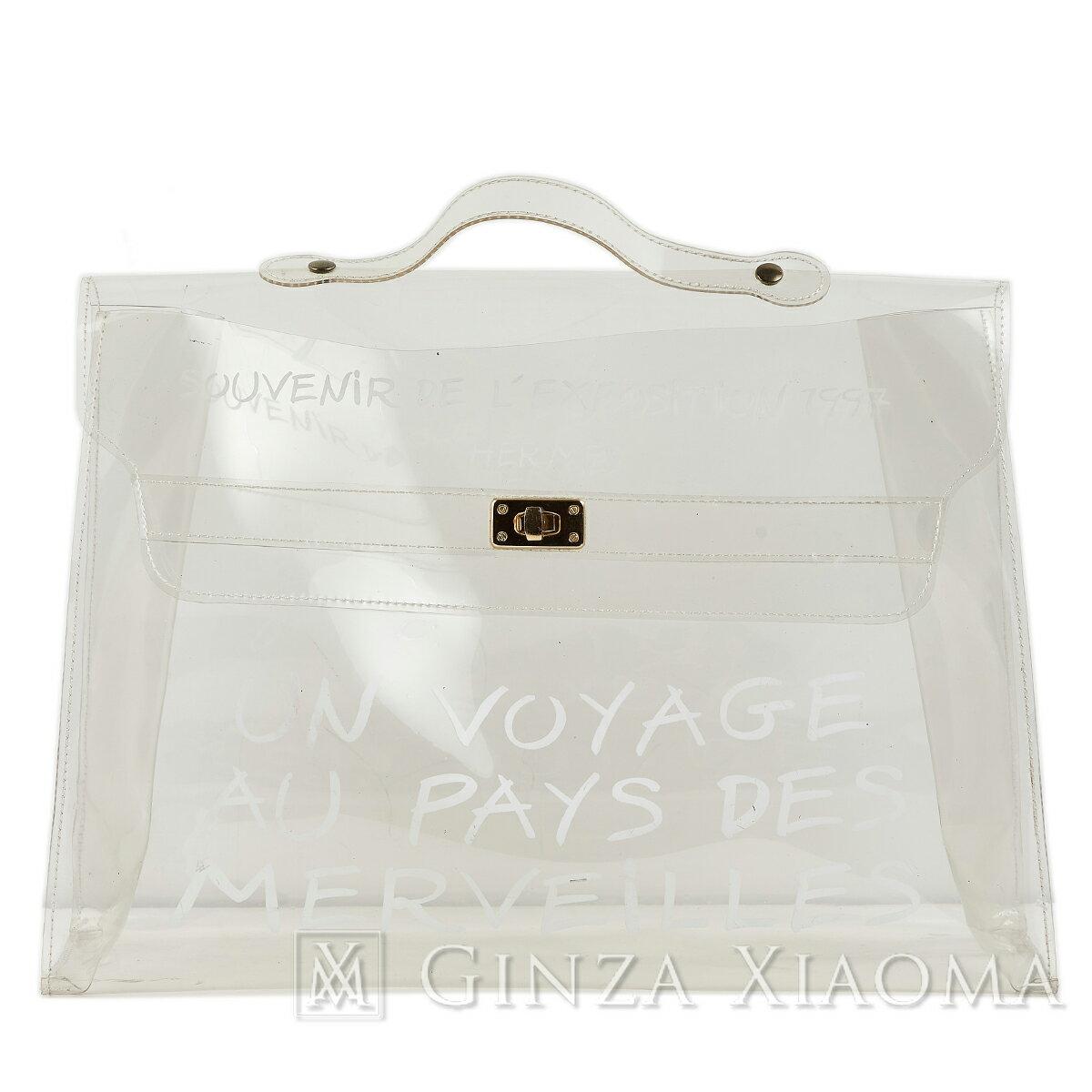 レディースバッグ, ハンドバッグ HERMES PVC Vinyl Kelly 40 handbag Transparent PVC Gold hardware