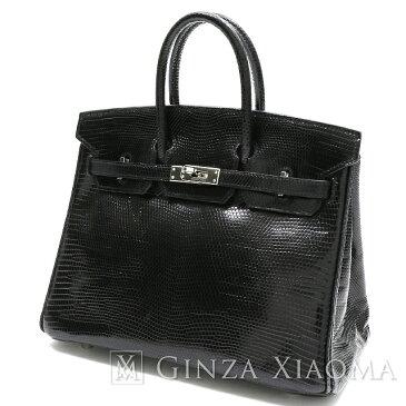 【中古】 HERMES エルメス バーキン25 リザード ブラック シルバー金具 M刻印 ハンドバッグ
