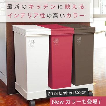 ゴミ箱 ごみ箱 資源ゴミ 横型 3分別 ワゴン 60L キャスター付
