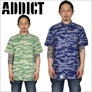 ADDICT(アディクト)/ADDICT TONAL TIGER S/S CPO SHIRT ADM19908【ストリート系ファッション、B系ファッション addict Tシャツ addict】