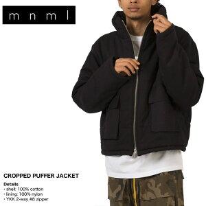 【SALE】mnml ミニマル ジャケット アウター ダウン 中綿 メンズ レディース ブランド 大きいサイズ CROPPED PUFFER JACKET Vintage black お洒落 かっこいい ブラック S M L XL XXL