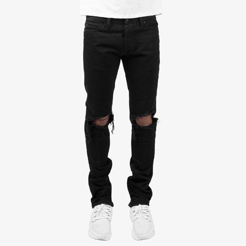 ミニマル 裾ZIP(ジップ) ダメージクラッシュジーンズ mnml M1 DENIM BLACK 17ML-SP150P/クラッシュデニムパンツ/スキニー/B系/ストリート系メンズファッション