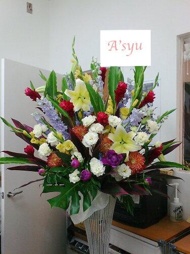 バルーンギフト 1段のシックなスタンド花<23区外の配達はご相談ください> フ...
