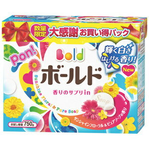 P&Gボールド香りのサプリイン粉末洗剤衣類用750G数量限定大感謝お買い得パックサンシャインフローラル&ピュアソープの香り(4902430675680)