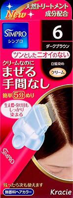 【送料無料】クラシエ シンプロ ワンタッチ無香料ヘアカラー 6 80g×36点セット まとめ買い特価!ケース販売 ( 4901417634085 ) 白髪染め ( 早染めタイプ ) です。クリームなのにまぜる手間なし