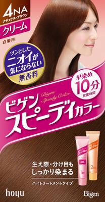 【送料無料】ホーユー ビゲン スピーディカラークリーム 4NA ( ナチュラリーブラウン ) ×27点セット まとめ買い特価!ケース販売 ( 4987205041143 ) 生え際・分け目もしっかり染まる白髪染め 早染めタイプです。タレにくく、伸びやすい、しかもニオイが気にならない無香料