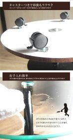 【送料無料】【一年保証】強化ガラステーブルキャスター付クール&スタイリッシュミニマルシンプルモダンシンプルモダンガラススチールクロムメッキ組立ダークブラウン丸円形ガラスラウンドテーブル
