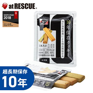 The Next Dekade 10年保存クッキー 3本入(プレーン味/レーズン味/抹茶味 各1本)グリーンケミー