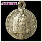 アンティーク♪シャルトル大聖堂の二つの聖母像と二人の作家のアンティークメダイネックレス、コイン、ペンダントトップ、チャーム、ヴィンテージ、ビンテージ【アンティークメダイ】