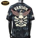【2019年春夏新作】vanson(バンソン)NVLT-906イーグルスカル刺繍半袖Tシャツ【atrium102】