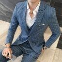 スーツ メンズ スリーピーススーツ 結婚式 カジュアルスーツ ベスト+パンツ+ジャケット 細身 ストライプ 新年会(suit162)