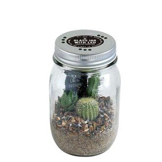 小玻璃罐與 LED 旅人 (玻璃瓶與 LED 仙人掌)