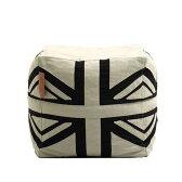 Lazy Bag ビーズクッションスツール 159-BB ユニオンジャック (カバーリング WH/BK)