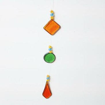 ティアドロップ オーナメント〈グリーン&オレンジ〉レジン サンキャッチャー 風水 【メール便対応可能】【ハワイアン雑貨】 クリスマス